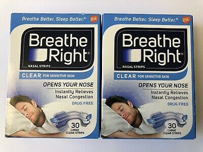 Breathe Right Nasal Strips 60 Large Clear Strips - 2 Pack