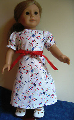 """Fits 18"""" American Girl Doll - White Dress and Bag with Red & Blue Stars & Purse"""