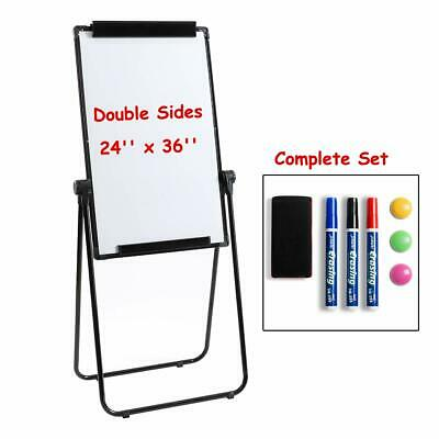 360° Rotating Magnetic Whiteboard Double-Sided Dry Erase Easel U-Stand 24 x 36''