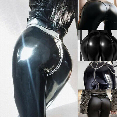 Women Latex Rubber Long Pant Punk Sexy Skinny Tights Nightclub Cosplay Hot Pants