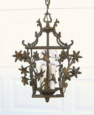 Petite Vintage Art Nouveau French Brass Made Spain Flower Birdcage Chandelier