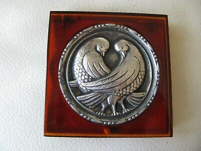Antique STERLING SILVER Love Birds Amber Lucite Puff Sifter Compact NICE