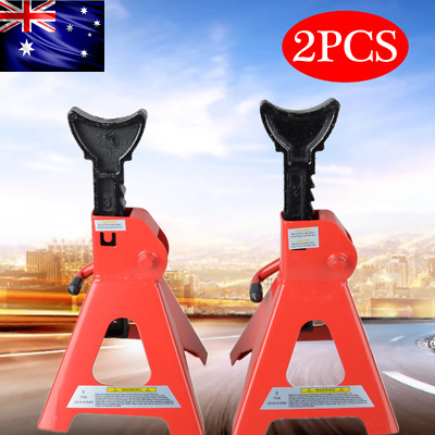 2Pc Car Jack Stand 3 Ton 3000Kg Adjustable Heavy Duty Lift Hoist Steel Ratchet