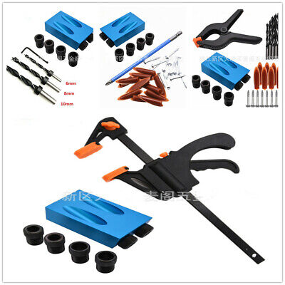 15°Angle Pocket Hole Screw Jig With Dowel Drill Set Carpenters Wood Joint Tool