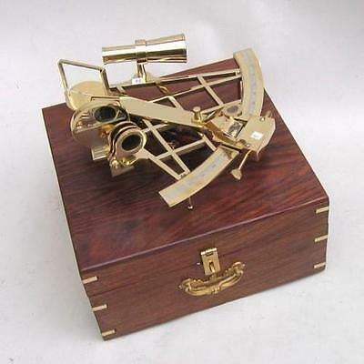 """10"""" Sextant Brass In Wooden Box ~ Nautical ~ Maritime Decor ~ Pirate ~ Sextant"""