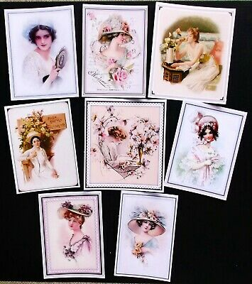 Classic Beautiful Framed Ladies Card Toppers X 8 Vintage Antique Shabby Chic Eze