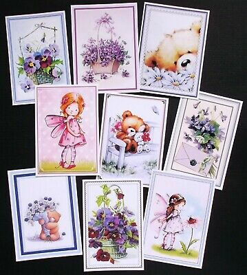 Mixed Framed Card Toppers X 9 Vintage Floral Plus Cute Bears & Fairies
