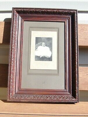 """Antique Carved Wood Picture Frame with Glass & Mat, 21"""" X 15"""", w/ Cabinet Photo"""