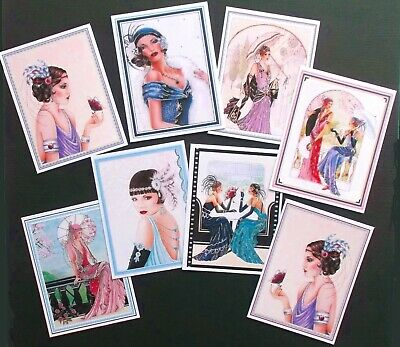 GLAMOROUS CLASSY 1920's  LADIES FRAMED CARD TOPPERS X 8 VINTAGE ANTIQUE CLASSIC