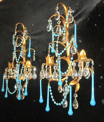 Antique Italian Tole Macaroni OPALINE blue glass beaded candle Sconce vintage