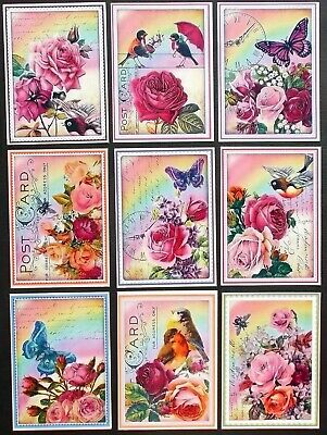 NEW STUNNING GLOSSY BUTTERFLIES CARD TOPPERS x 9 GORGEOUS PINKS - SHABBY CHIC