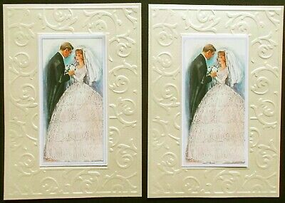 Vintage Retro Wedding Card Topper Set In Classic Ivory Tones X 2 Sets Emb Layers