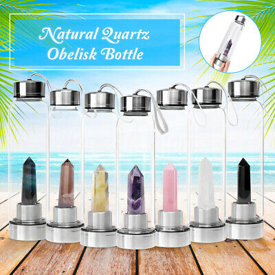 Drink Crystal Water Bottle Natural Quartz Energy Point With Obelisk Wand Healing