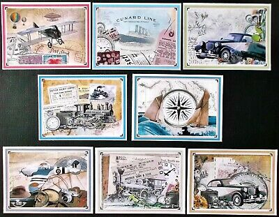 Father's Day Dad Male Brother Husband Card Toppers X 8 Vintage Car Boat Plane