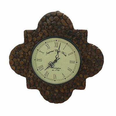 Solid Wood Antique Wall Clock Handcarved Pebbles Design Large 19X19 Inch
