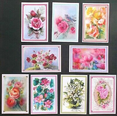 ASSORTED VINTAGE ANTIQUE FLORAL CARD TOPPERS x 9 BEAUTIFULLY FRAMED ALL OCCASION