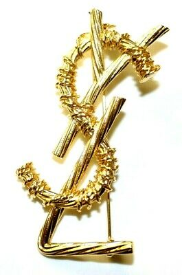 aa758a39148 Ysl Yves Saint Laurent Authentic Xl Jumbo Gold Opyum Logo Brooch Pin New
