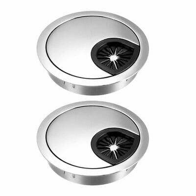 "Cable Hole Cover, 2-3/8"" Zinc Alloy Desk Grommet, 2 Pcs (Bright Silver)"