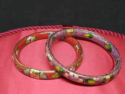 Cloisonne Bangle Lot Coral And Blue