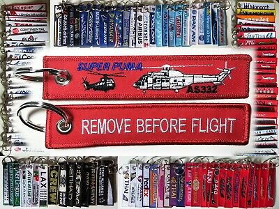 Keyring HELICOPTER AS332 Super Puma Remove Before Flight tag keychain