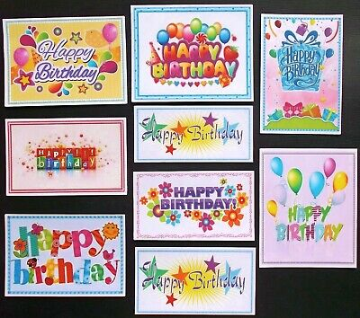 Colourful Framed Birthday Sentiments Card Toppers X 9 Mixed Sizes