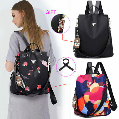 AU Womens Waterproof Oxford Cloth Travel Backpack Anti-theft Double Shoulder Bag
