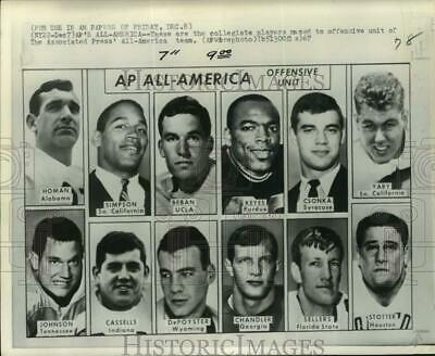 1967 Press Photo Offensive unit for Associated Press All-America football team