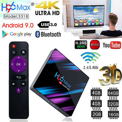H96 Max 3318 Smart TV Box 4G + 64G Android 9.0 Wi-Fi Quad Core 1080p 4K Set Top