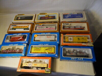 Vintage Lionel Bachmann Tyco & Life Like 13 Piece Lot HO Scale Boxed Cars W/ Box
