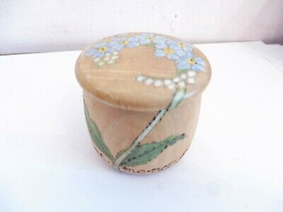 Found* Early Hand Turned And Decorated Wooden Lidded Trinket Pot# Forget Me Not