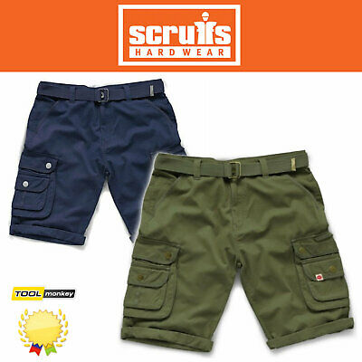 Scruffs Work Shorts - Mens Cargo Shorts - Khaki Green / Navy Combat Trade Short