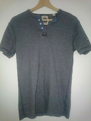 New Mens Superdry Lite Short Sleeve Grandad Top Blue Marl