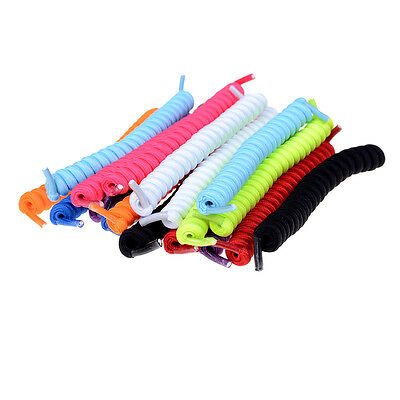 Curly Elastic Shoelaces No Tie Shoe Laces Trainer Kids Adults Disability Aid RR