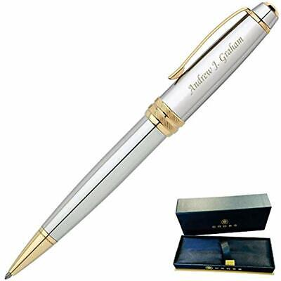 Engraved/Personalized Cross Bailey Medalist Ballpoint Gift Pen- Chrome Gold Fast