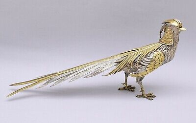 BEAUTIFUL AND LARGE SOLID SILVER PHEASANT. 39.5 cm / 15.55 inch.