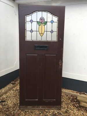 Stained Glass Front Door Hardwood Reclaimed Period Old Edwardian Leaded