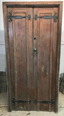 Solid Oak Front Door Set Antique Period Reclaimed Old Double Frame Cast Iron.