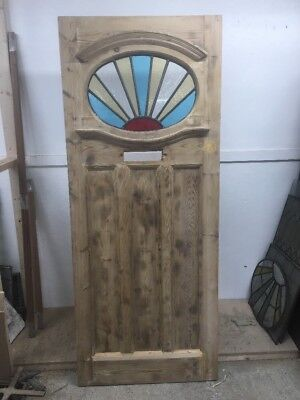 20s 30s STAINED GLASS FRONT DOOR PERIOD OLD RECLAIMED ANTIQUE LEAD PINE WOODEN