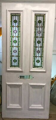 Large Victorian Stained Glass Front Door Reclaimed Old Period Antique Lead Wood