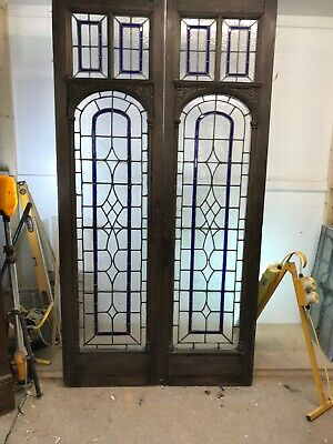 Solid Oak Stained Glass Doors Regency French Pair Reclaimed Antique Period Old.