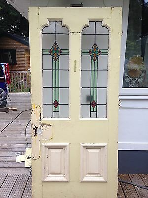 Large Edwardian Stained Glass Front Door Wood Solid Pine Reclaimed Old Period.