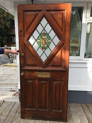 Large Solid Oak Stained Glass Front Door Reclaimed Old Antique Period Wood Lead