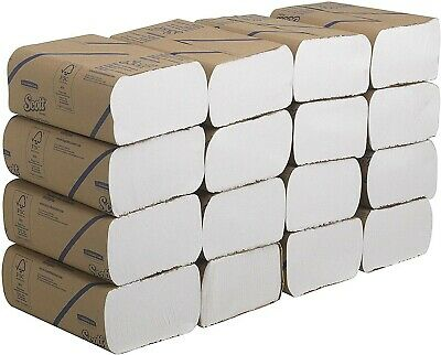 Scott 3749 Multifold Hand Towels, 1 ply, White, 16 packs x 250 Sheets