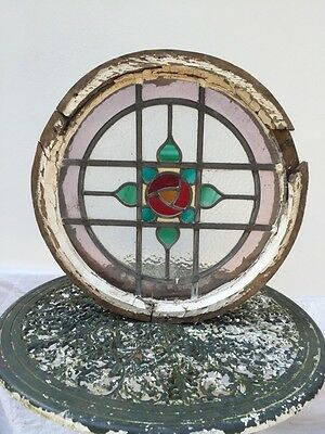 Victorian Round Porthole Stained Glass Window Wood Period Old Reclaimed Leaded