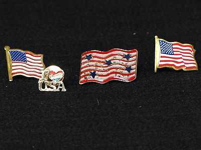 Patriotic Set of Four I Love USA and American Flag Lapel Pins Hat Tie Pinback