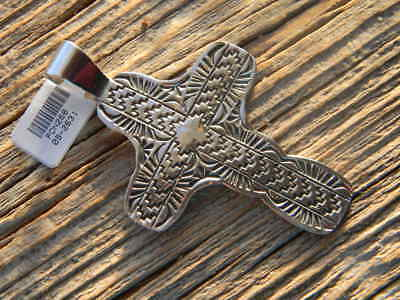 """Sterling silver Navajo heavy  tooled cross 2 1/2"""" long free 18"""" cobra chain"""
