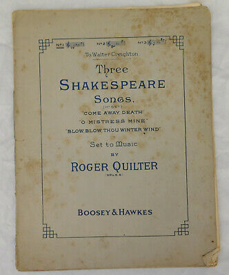 3 Three Shakespeare Songs Roger Quilter vintage sheet music O Mistress Mine Blow