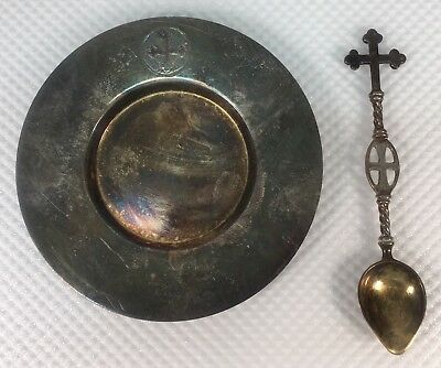 1918 Gorham GM Co EP Electroplate Demitasse Cross Saucer & Cross Spoon Religious