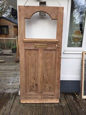 EDWARDIAN 1930s FRONT DOOR PERIOD RECLAIMED OLD ANTIQUE GLAZED STRIPPED WOODEN