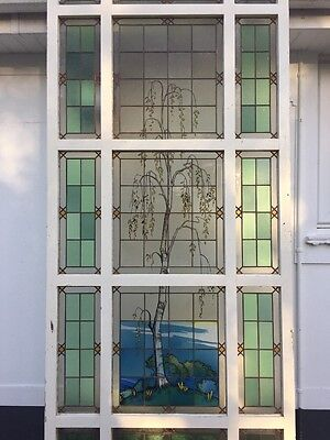 Large Stained Glass Window Panel Architectural Antique Period Copper Old Period